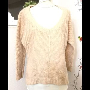Free People V-Neck Chunky Knit Wool Blend Sweater